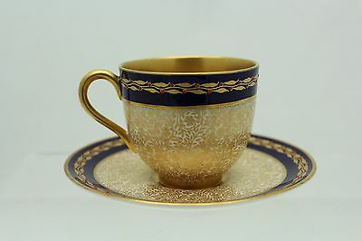 Royal Worcester Cup And Saucer With Enamel Jewels