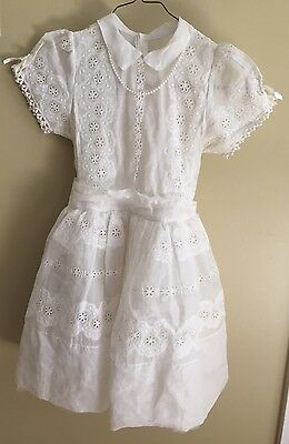Vintage 1960's Holy Communion Lace Dress White With Veil