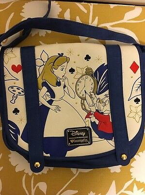 Disney Loungefly Alice In Wonderland Faux Leather Crossbody Purse Hand Bag