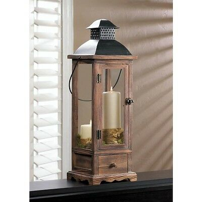 """Large Wooden Lantern With Drawer 25"""" tall Candleholder"""