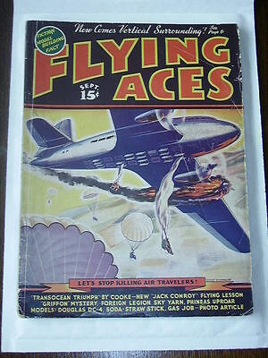 FLYING ACES Sep 1938 August Schomburg cover G American Pulp
