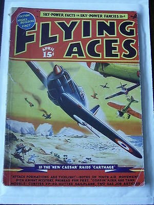 FLYING ACES Apr 1939 August Schomburg cover G American Pulp