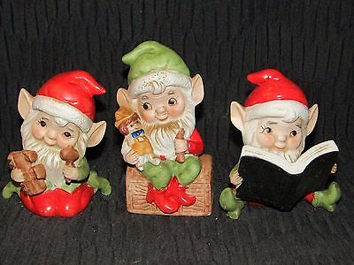 3 Adorable Porcelain Santa's Elves By Homco - Holding Toys Or Book-Very 1950's