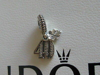 Authentic Genuine Pandora Sterling Silver 40 Charm - 791288CZ