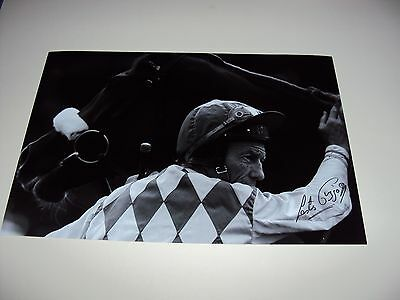 12x8 PHOTO SIGNED LESTER PIGGOTT HORSE RACING CHAMPION JOCKEY AUTHENTIC RIDING