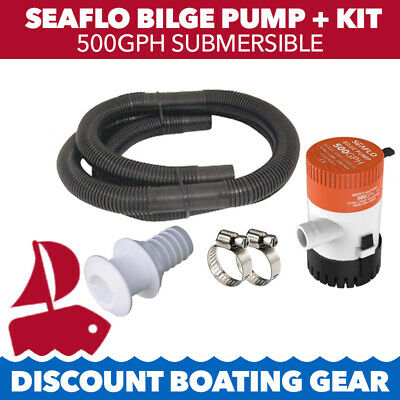 SEAFLO 500GPH Submersible Marine Bilge Pump with Hose Clamps Skin Fitting Kit