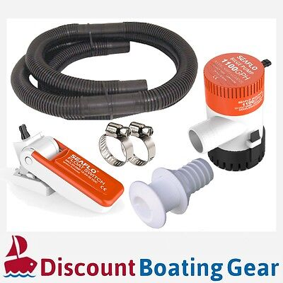 SEAFLO 1100GPH Submersible Marine Bilge Pump Float Switch Hose Clamps Boat Kit