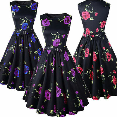 Vintage Floral 50s 60s Rockabilly Retro Sleeveless Swing Dresses Hepburn Style