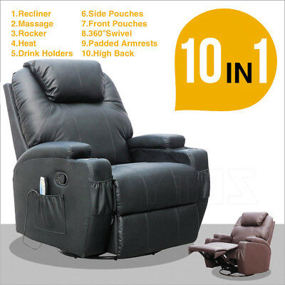 Ergonomic Massage Sofa Chair Recliner Lounge Swivel Heated 2 Colors with Control