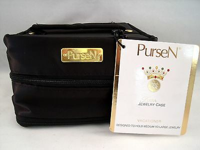 JEWELRY CASE Travel Pouch PurseN Tiara Large Vacationer Black Satin NEW with TAG
