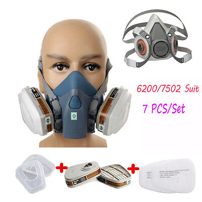 Respirator Painting Spray Gas Mask 3M 6200 7502 7pcs set Organic Vapor Filters