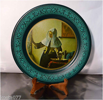 Vintage - The Ohio Art Company Collector Metal Plate Woman At The Window VERMEER