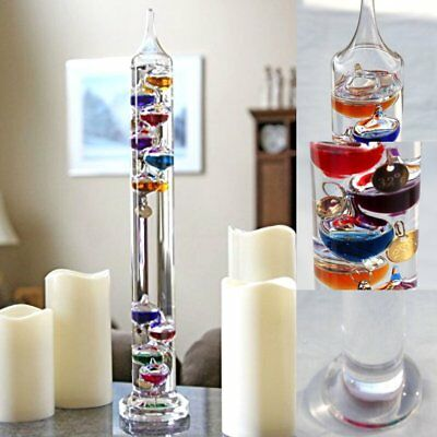 17.32Inch Glass Science Galileo Thermometer Colorful Temperature 16-34 Degrees C