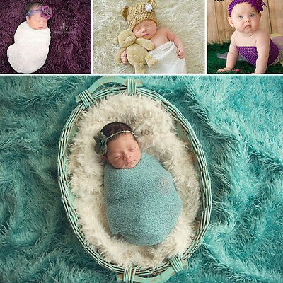 Newborn Baby Girls Stretch Knit Photography Photo Props Wrap Flower Headband New