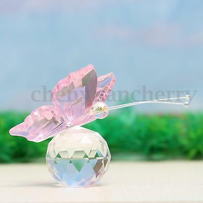 Glass Crystal Paperweight Little Pink Butterfly Clear Ball Figurine Decor Gift