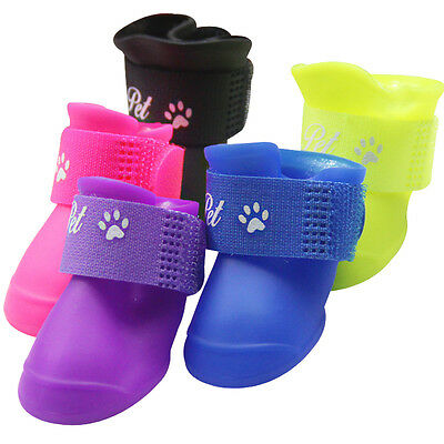 4pcs Pet Dog Puppy Rain Boots Shoes Anti-slip Waterproof Paws Protection S-L New