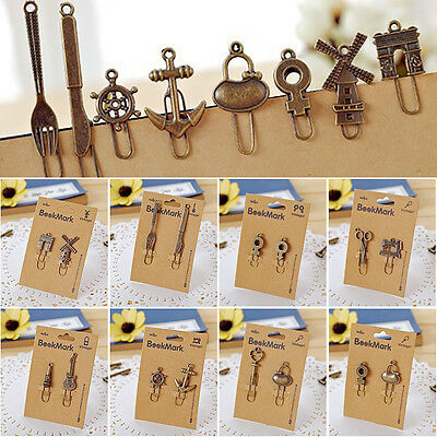 4PCS Metal bookmark paperclip Bronze Retro Style Paper clip Holders Office Parts