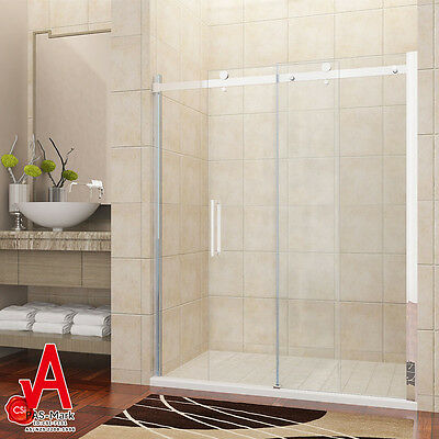 1500x1950mm Wall to Wall Frameless Sliding Shower Screen Rail Adjustable