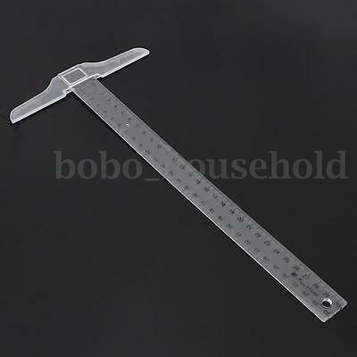 30cm Plastic Metric T Square Double Side Ruler Measurement Measuring Tool