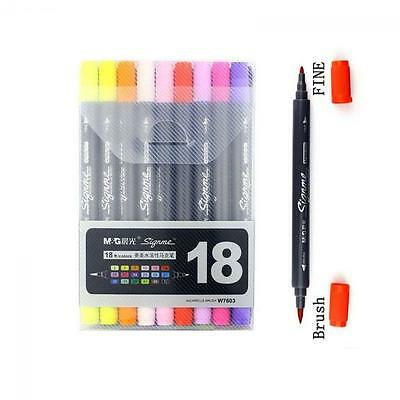 Color Portable Graphic Oil Manga Sketch Marker Pen Drawing Twin Tip Brush
