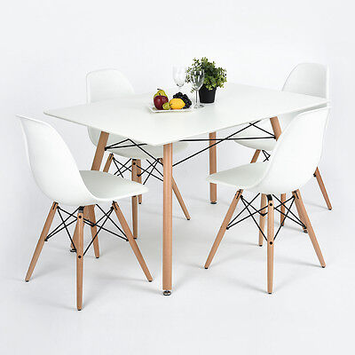 White Dining Table /4 Chairs Set X Frame Rectangle Wood Legs MDF High Gross Top