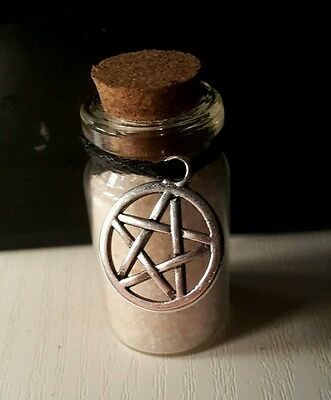 Witches Spell Bottle Crystal Salt Moon Protection Talisman Pagan Altar Parchment