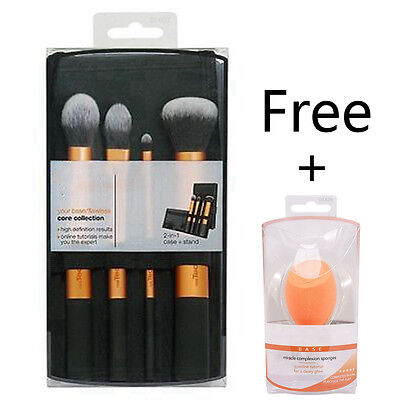 1 Set/4pcs Techniques Make Up Brushes + Cosmetic Sponge Core Collection