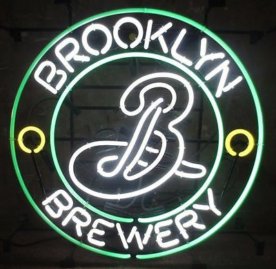 """New Brooklyn Brewery Beer Lager Bar Store Real Glass Neon Sign 17""""x14"""""""