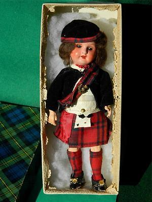 """VINTAGE 1920s GERMAN BOXED 8 1/2"""" BISQUE HEADED COMPOSITION JOINTED COSTUME DOLL"""
