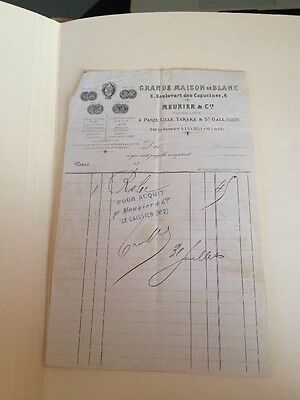 Historic Vintage Invoice Receipt History Paris France 1869 Meunier Robe