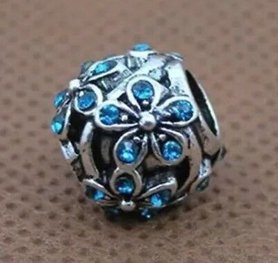 Blue Cz Crystal DAISY Flower Charm Bead For European Bracelets Silver Plated