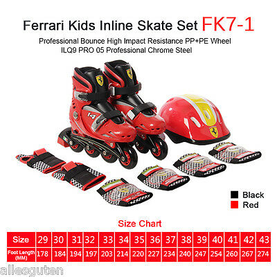 Black/Red Kid Adjustable Inline Skate Roller Blades Skates 3 Wheels Xmas Gift UK