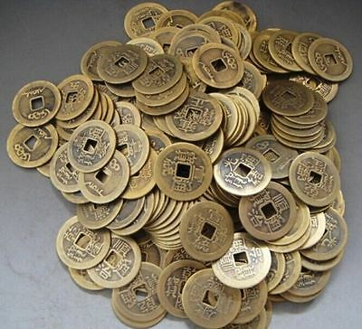 Collect 50pcs Chinese Brass Coin Qing Dynasty Antique Currency Cash