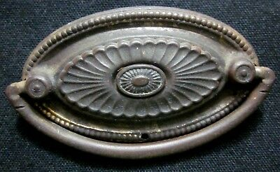 1 antique steel ornate oval drawer drop bail pull handle feathered inner eye
