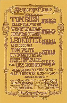 original TOM WAITS, TOM RUSH, JERRY JEFF WALKER handbill Northampton, MA 1976 EX
