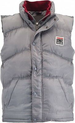 Vision Street Wear Mens Gilet Filled Skate Vest Skateboarding - GREY
