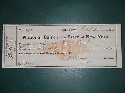 National Bank of the State of New York. Oct. 15, 1875. Sterling Iron & Railway.