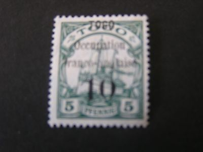 **TOGO, SCOTT # 155, 10c. VALUE 1914 KAISER'S YACHT SURCHARGED+OVPT ISSUE MLH