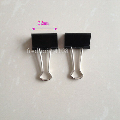 2pcs Black Metal Binder Clip Paper Clips For Office School 32mm