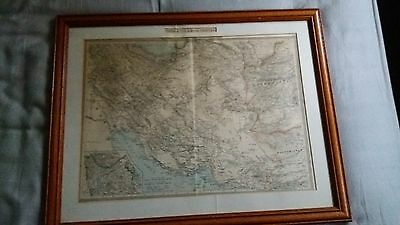 Antique Vintage Map 1900 Persia & Afghan Frontier Geographical Institute London
