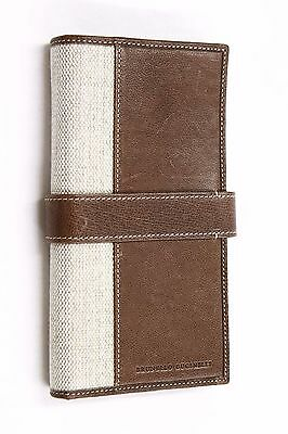 NWT$885 Brunello Cucinelli 100% Leather &Linen Canvas Logo Brand Gusseted Wallet