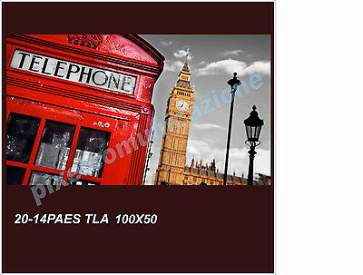 Quadro Moderno Tela 100X50 Arredo Londra Red Big Ben London Westminster