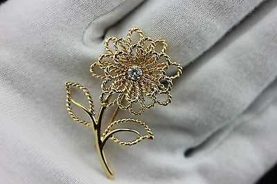14k yellow gold .20ct diamond twisted wire rope flower pin brooch estate vintage