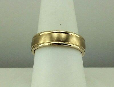 14k yellow gold 6mm mans wedding band ring size 9 comfort fit satin