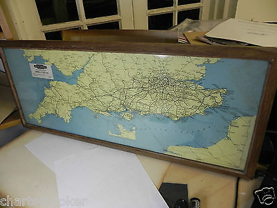 ORIGINAL 1940'S British Railways General System Map, southern region. Framed