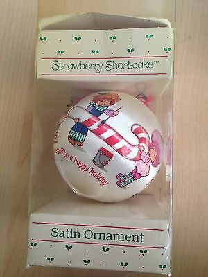 Vintage Strawberry Shortcake Christmas Satin Ornament made in USA