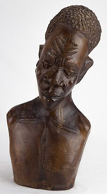 African Wood Bust Carving Man with Afro