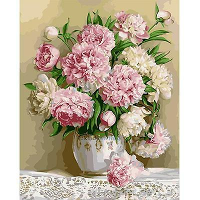 """15""""*11"""" DIY Paint By Number Kit Digital Oil Painting Canvas Peony Flower"""