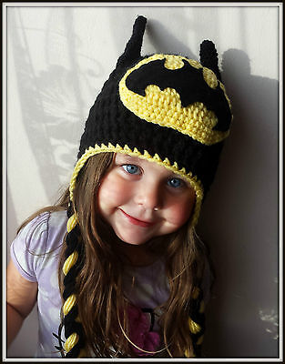 Batman crochet handmade kids baby hat size from 3-6 months to adult
