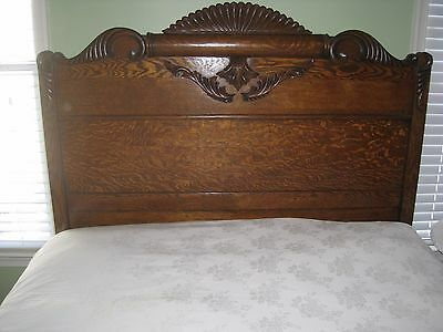 Antique Double Bed Headboard & Footboard Carved Tiger Oak. (Local Pick Up Only)